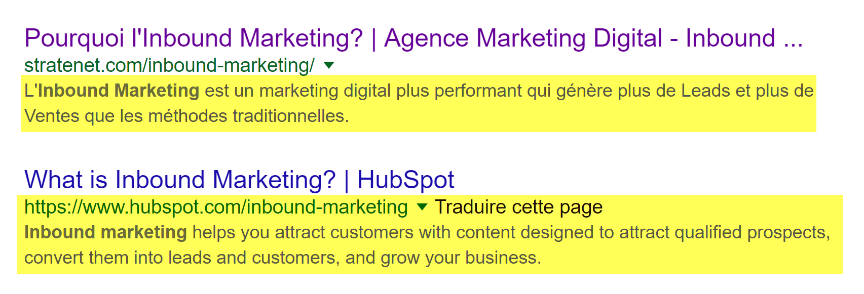 meta description recherche Inbound Marketing