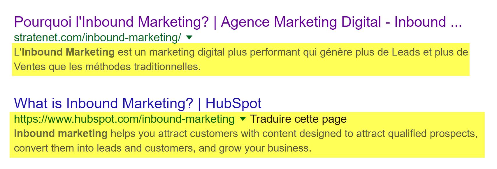 meta description recherche Inbound Marketing